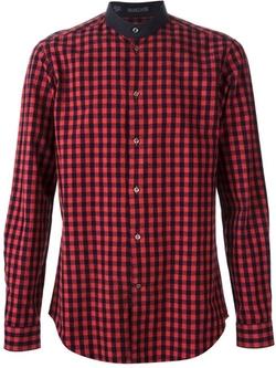 Vangher  - Band Collar Checked Shirt