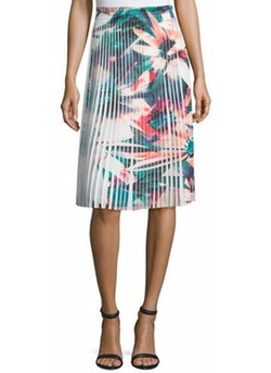 Nicole Miller - Pleated Floral-Print Skirt