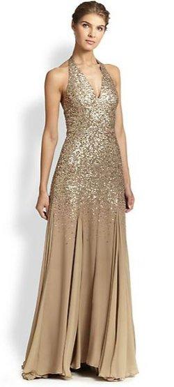 Halston Heritage  - Sequin-Top Halter Gown