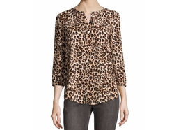 NYDJ  - 3/4-Sleeve Animal-Print Pleated-Back Blouse