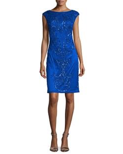 Sue Wong - Cap-Sleeve Embellished Sheath Dress