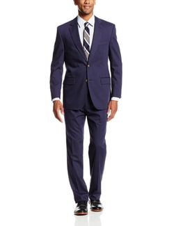 Palm Beach  - Boone Blue Poplin Two Button Center Vent Notch Lapel Suit
