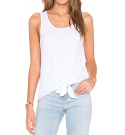 Bobi - Light Weight Jersey Tied Waist Scoop Neck Tank