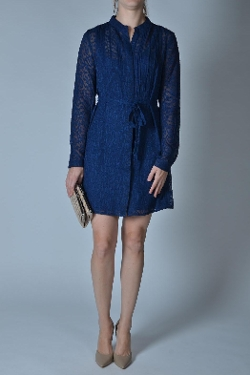 Esley - Navy Shirt Dress