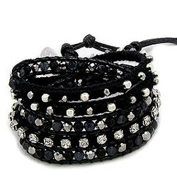 Crazy4Bling  - Fashionable Black Wrap Bracelet Studded