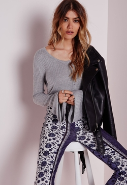 Missguided - Bell Sleeve Button Up Knitted Crop Grey