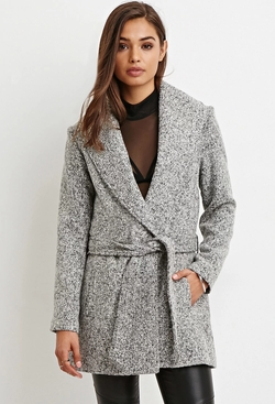 Forever 21 - Belted Longline Marled Coat