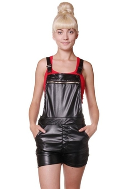 Exocet - Faux Leather Shortall Romper