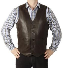 Simons Leather - Longer Length Leather Waistcoat Vest