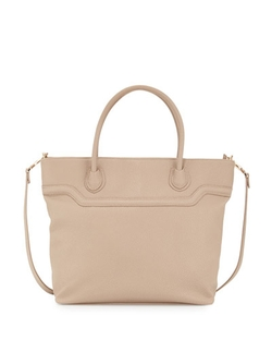 Neiman Marcus - Liza Faux-Leather Zip Tote Bag, Nude