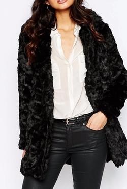 Mango - Faux Fur Longline Coat