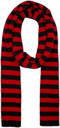 Saint Laurent   - Black & Red Wool Scarf