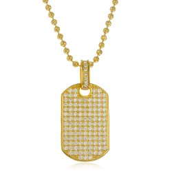 JOTW - 925 Sterling Goldtone Fully Iced Out Cubic Zirconia Large Dog Tag Pendant with a 4mm 24 Inch Brass Moon Cut Necklace