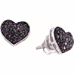 VISHAL JEWELRY - 14K WHITE GOLD HEART BLACK DIAMOND EARRING