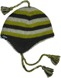 Authentic Soul - Wool Knit Stripe Ear Flap Sherpa Hat Beanie