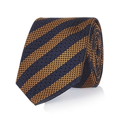 River Island - Navy Textured Striped Tie