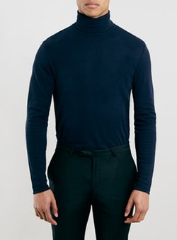 Topman - Navy Jersey Turtle Neck Sweatshirt