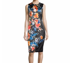 Carmen Marc Valvo  - Sleeveless Floral-Print Sheath Dress