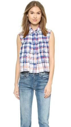 Sea - Sleeveless Plaid Button Down Top