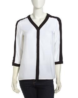 Neiman Marcus  - Two-Tone Georgette Button-Down Blouse