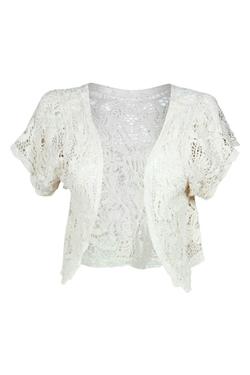 Boohoo  - Catrin Crochet Short Sleeve Cardigan
