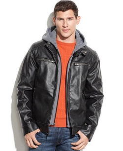 Guess - Hooded Faux Leather Moto Jacket