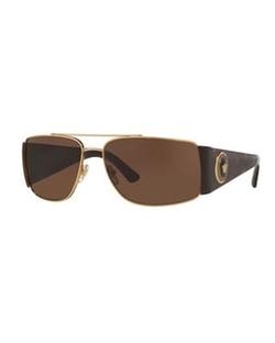 Versace - Squared Monochromatic Aviator Wrap Sunglasses