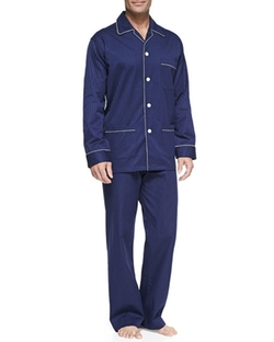 Derek Rose  - Satin-Stripe Dot-Print Pajamas