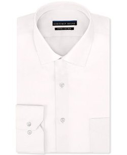 Geoffrey Beene  - Fitted Stretch Sateen Solid Dress Shirt