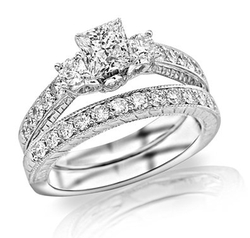Houston Diamond District - Milgrain & Filigree Bridal Ring Set