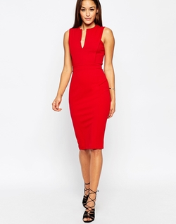 Asos - Plunge Neckline Pencil Dress
