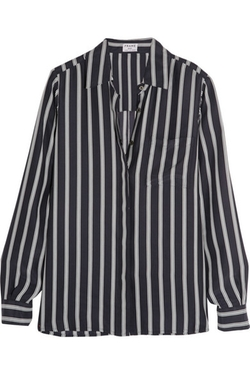 Frame Denim - Le Boyfriend Striped Silk-Charmeuse Shirt