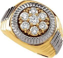 Jewelplus  - Two Tone Gents Diamond Ring