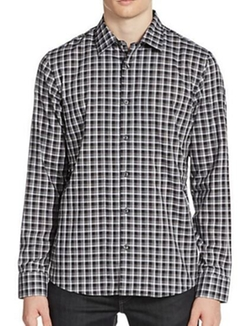 Michael Kors - Hampton Check Contrast-Cuff Sportshirt