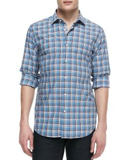 Neiman Marcus  - Plaid Poplin Button-Down Shirt, Blue