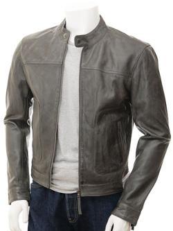 Oldenburg - Grey Biker Leather Jacket