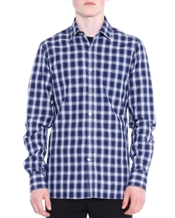 Lanvin - Shadow-Plaid Long-Sleeve Shirt