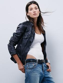 Free People - Rumpled Leather Blazer