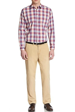 Saks Fifth Avenue BLUE  - Slim-Fit Jumbo Check Cotton Sportshirt