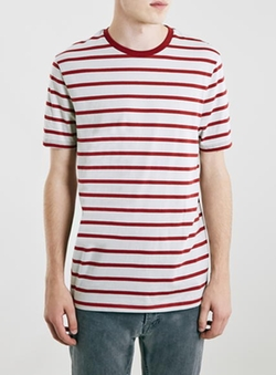 Topman - Sand/Burgundy Striped T-Shirt