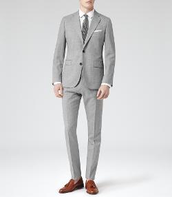 COMO  - Modern Fit Wool Suit  Grey