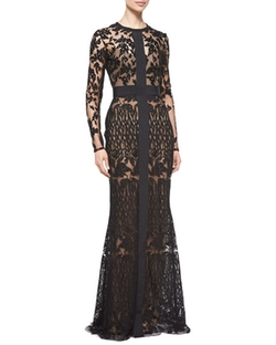 Elie Saab  - Long-Sleeve Sheer Embroidered Lace Gown