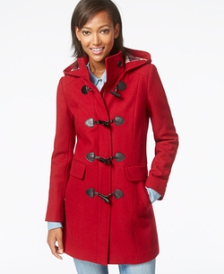 Tommy Hilfiger  - Plaid-Trim Wool Duffle Coat