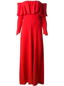 Biba Vintage  - Ruffled Off Shoulder Maxi Dress