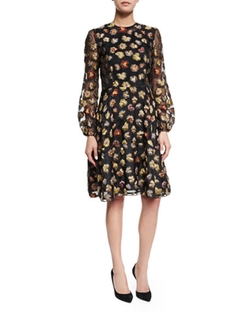 Co  - Long-Sleeve Floral Dress