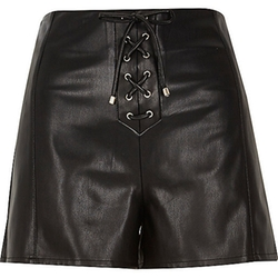 River Island - Black Lace-Up Leather-Look Shorts