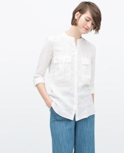 Zara - Epaulette And Pocket Shirt