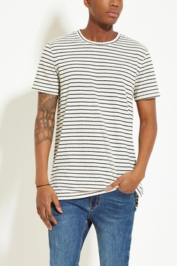 21 Men - Striped Cotton-Blend Tee