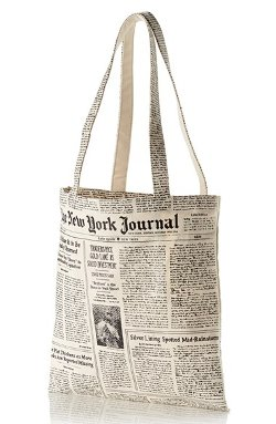 Kate Spade New York - Newspaper Print Canvas Shopping Tote Bag