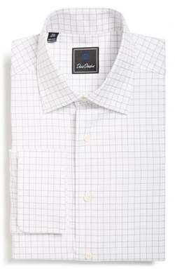 David Donahue - Regular Fit Windowpane Plaid Dress Shirt